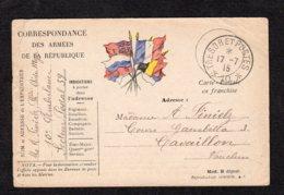 Trésor Et Postes N° 10 écrite Du 17 7 1915 Lot 22 - Guerre De 1914-18