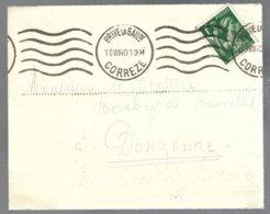 Y&t 432 Iris Oblitéré S/petite Lettre De Brive La Gaillarde (Correze) 1940 Pour Donzenac - 1939-44 Iris