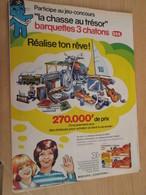 SPI2020  Issu De Revue Spirou Années 80 / 1 PAGE DE PUBLICITE CONCOURS CHASSE AU TRESOR BARQUETTES 3 CHATONS - Publicités