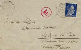 1943- Enveloppe Affr. Hitler 25 Pf Oblit. LUXEMBURG 1  Pour St Maur Des Fossés ( France ) - 1940-1944 Occupation Allemande