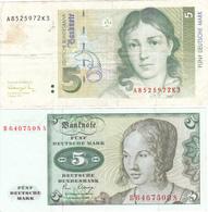 LOT 2 BILLETS ALLEMAGNE De 5 Mark De 1980 Et 1991  @ PICK 30 Et 37 - [ 7] 1949-… : RFA - Rép. Féd. D'Allemagne