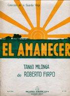 EL AMANECER TANGO MILONGA MUSICA DE ROBERTO FIRPO PARTITURA - NTVG. - Partituras