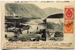 C. P. A. : GEORGIE : Station Militaire Gruzinskaya  Station Kasbek, Военная станция Грузинская Станция Кас 2 Stamps 1906 - Géorgie