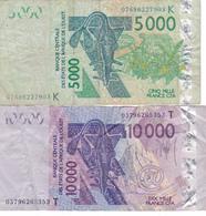 LOT 2 BILLETS De 2003 TOGO (T) Et SENEGAL (K) De 10000 Et 5000 Francs Etats De L'Afrique De L'ouest @ PICK 818T Et 717K - Togo
