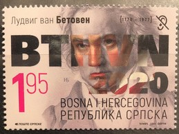 Bosnia And Hercegovina, Republic Of Srpska, 2020, 250 Years Since The Birth Of Ludwig Van Beethoven (MNH) - Bosnië En Herzegovina