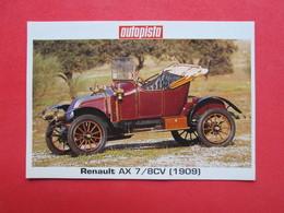 Trading Card (Cromo) - Renault AX 7 (1909) - Nº 215 - Col. Coches Del Mundo - Ed. Autopista 80-90 - (Spain) / France - Automobili