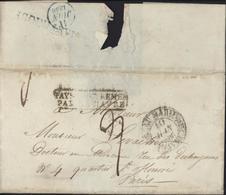 Cachet Pays D'Outremer Par Le Havre Dos CAD Bleu 11 Juin 1836 + Linéaire Martinique Devant Mar?? 10 Jan 36 Taxe - Poststempel (Briefe)