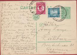 1934 Entier Postal Postwaardestuk Roemenie Posta Romania Roumanie Rumänien Cachet Bucuresti Luban Lauban Germania - Entiers Postaux