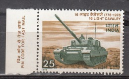 INDIA, 1976,  Bicentenary Of 16 Light Cavalry Regiment, Tank, Military, With Tab On Left Side,   MNH, (**) - India