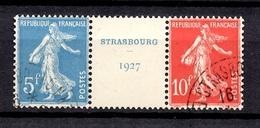 France YT N° 242A Oblitéré. Bande Centrale Du Bloc Strasbourg. TB. A Saisir! - France
