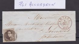 N° 6 Margé Avec PLI ACCORDEON  / Lettre D ANVERS Du 5 Aout 1856 Lsc - 1851-1857 Medaillen (6/8)