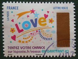 1498 France 2017 Oblitéré Autoadhésif Timbres De Voeux Mention Love - Adhésifs (autocollants)