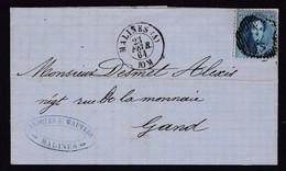N°  15 A / Lettre De Malines ( A )vers GAND Du 23 Fevr. 1864 Lac - 1863-1864 Medaillen (13/16)