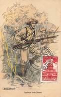 Militaire Tirailleur Tirailleurs Indo Chinois Illustration Robiquet + Cachet Commemoratif Semaine De L' Armée 1951 - Uniformes