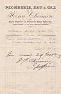 98000 Monaco Henri Choinière Plomberie Fourniture Pour Maubert 1901 - Factures & Documents Commerciaux
