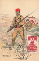Militaire Tirailleur Tirailleurs Marocains Marocain Illustration Robiquet + Cachet Commemoratif Semaine De L' Armée 1951 - Uniformes