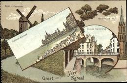 Lithographie Ostende Westflandern, Kuursaal, Molen In Vlaanderen, Dixmude Noorderbrug, Bixschootekerk - Belgio