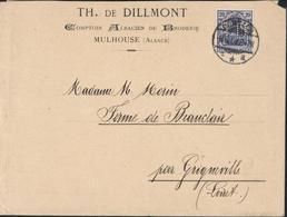 YT Allemagne 85 Bleu Perforé TD TH De Dillmont Comptoir Alsacien Borderie Mulhouse CAD Dornach 9 5 08 - Francia