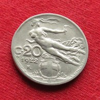 Italy 20 Centesimi 1922 KM# 44  *V2  Italia Italie Italien Italiana - Italia