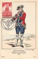 Militaire Uniforme Service De France Regiment Gardes Suisses Musicien Tenue De Versailles 1782 Cachet Semaine Armee 1951 - Uniformes