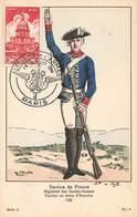 Militaire Uniforme Service De France Regiment Gardes Suisses Fusilier Tenue D' Exercice 1782 Cachet Semaine Armee 1951 - Uniformes