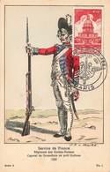 Militaire Uniforme Service De France Regiment Gardes Suisses Caporal Grenadiers 1782 Cachet Semaine Armee 1951 - Uniformes
