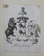 Ex-libris Héraldique XVIIIème - BEAUCHAMP - Ex-libris