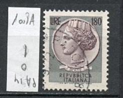 Italie - Italy - Italien 1968-72 Y&T N°1008A - Michel N°1350 (o) - 180l Monnaie Syracusaine - Fluorescent - Filigrane * - 1961-70: Usados