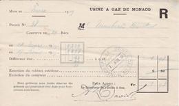 98000 Monaco Quittance De Gaz  Pour Maubert 1919 - Autres