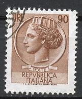 Italie - Italy - Italien 1968-72 Y&T N°1006 - Michel N°1266 (o) - 90l Monnaie Syracusaine - Fluorescent - Filigrane * - 1961-70: Usados