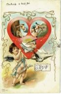 Ange. Coeur Et Rebus Avec D. Art Nouveau. Diekirch 1901. - Anges