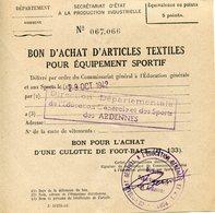 Ardennes. 1942. Bon D'achat D'une Culotte De Foot-ball - 1939-45