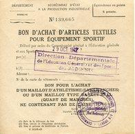 Ardennes. 1942. Bon D'achat D'un Maillot D'athlétisme Ou Basket Ball - 1939-45