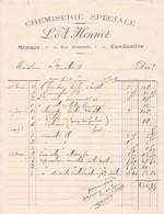98000 Monaco Chemiserie Henriot  Facture  Pour Maubert 1909 - Autres