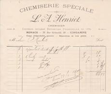 98000 Monaco Chemiserie Henriot  Facturette  Pour Maubert 1901 - Autres