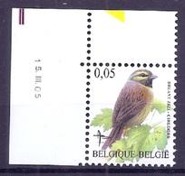 BELGIE * Buzin * Nr 3379 * 15-3-05 * Postfris Xx * DOF WIT  PAPIER - 1985-.. Oiseaux (Buzin)