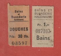 2 Tickets D'entrée Pour Douches Et Bains -  Bains Et Buanderie Haldimand Lausanne - Tickets D'entrée