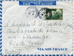 FRANCE LETTRE PAR AVION AFFRANCHIE AVEC LE N°730 20F VERT GANDON DEPART PARIS 15-11-45 Bd ROCHECHOUART POUR LE BRESIL - 1945-54 Marianne Of Gandon