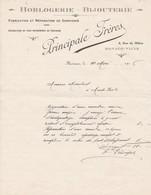 98000 Monaco Principale Frères Horlogerie Bijouterie Courrier  Pour  Maubert 1916 - Factures & Documents Commerciaux