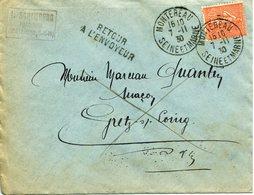 MONTEREAU 1930 Timbre à Date Sur Timbre Type Semeuse RETOUR A L'ENVOYEUR + Mentions Manuscrites - Postmark Collection (Covers)