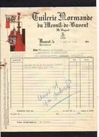 1949 Facture Tuilerie Normande Du Mesnil De Bavent M. Dupont Bavent - 1900 – 1949