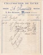 98000 Monaco Augustin Rambaldi  Chaussures De Luxe Pour  Maubert 1916 - Factures & Documents Commerciaux