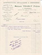 98000 Monaco  Trabut Frères Constructions Métallique Et Serrurerie  Pour   Maubert 1913 - Factures & Documents Commerciaux