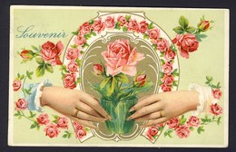 Two Different Woman's Graceful Hand Holds Vase With Pink Roses, Horseshoe Of Pink Roses, Gold Gilt,  Embossed - Fiori