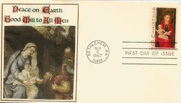 USA. Virgin With Child By Hans Memling. Christmas In America. Oblitération Bethlehem (Georgia) - Noël