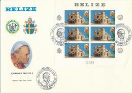 BELIZE    -   7.3.834  ,  Besuch Von Papst Johannes Paul II.   -  Big Letter, Dispatch = 4,20 EURO - Belize (1973-...)