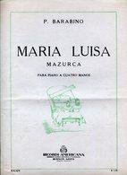 MARIA LUISA MAZURCA PARA PIANO A 4 MANOS PARTITURA - NTVG. - Partituras