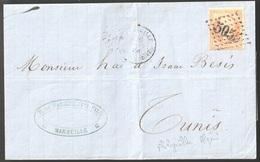Lettre France N° 23 Napoléon GC 5055 Philippeville Algérie Pour Tunis - Postmark Collection (Covers)