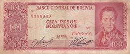 BILLET BOLIVIE De 100 PESOS BOLIVIANOS De 1962 - Simon Bolivar - N° Rouge V30 - Bolivie