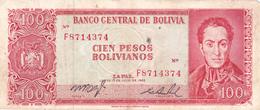 BILLET BOLIVIE De 100 PESOS BOLIVIANOS De 1962 - Simon Bolivar - N° Rouge F87 - Bolivie